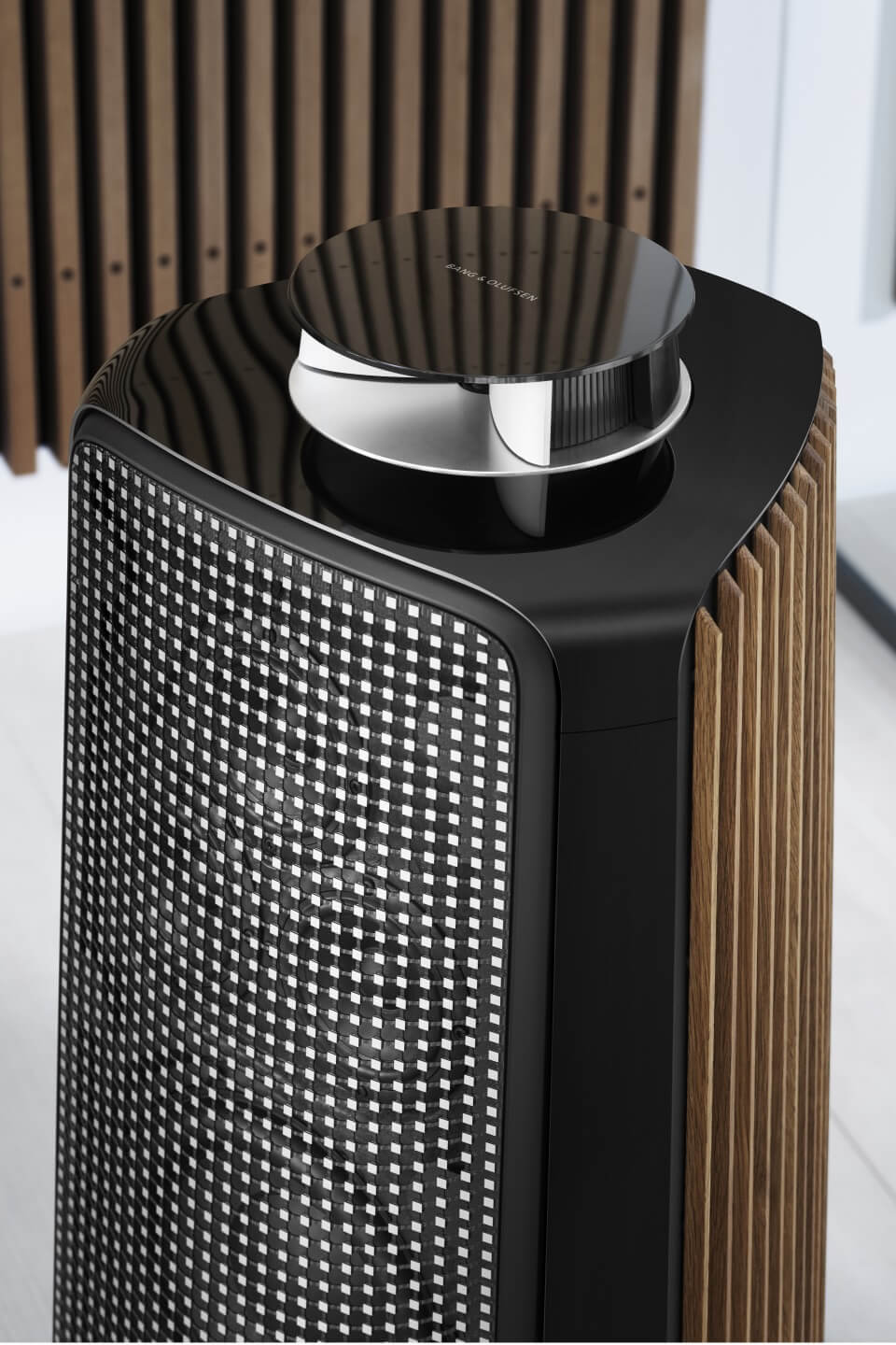 BeoLab 50 brass tone with smoked oak panels