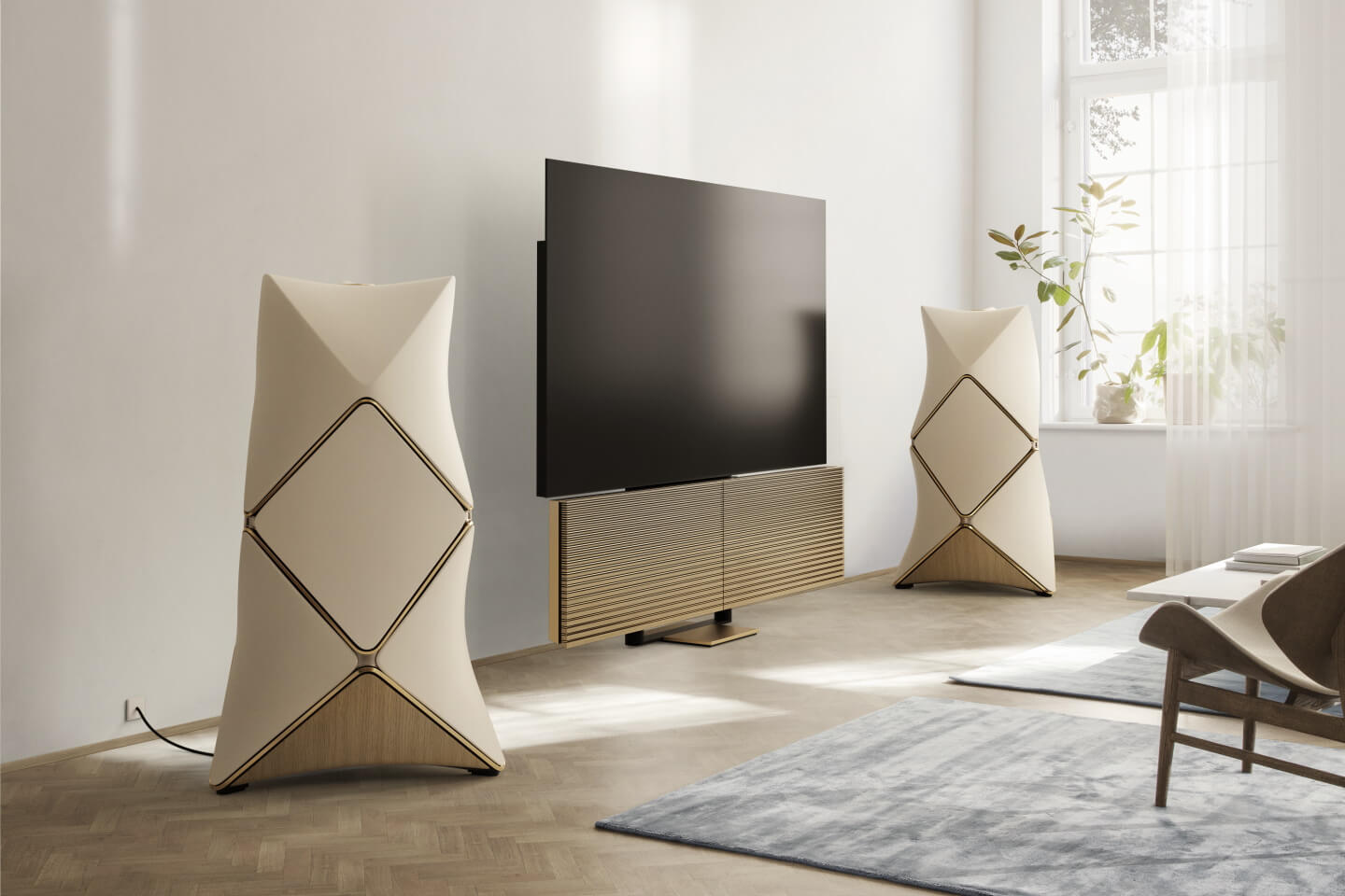 Bang & Olufsen BeoLab 90 and BeoVision Harmony gold tone